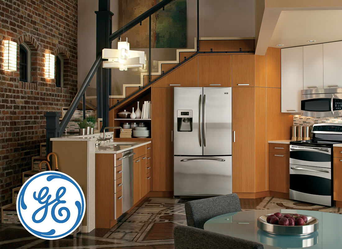 GE appliances in kitchen.