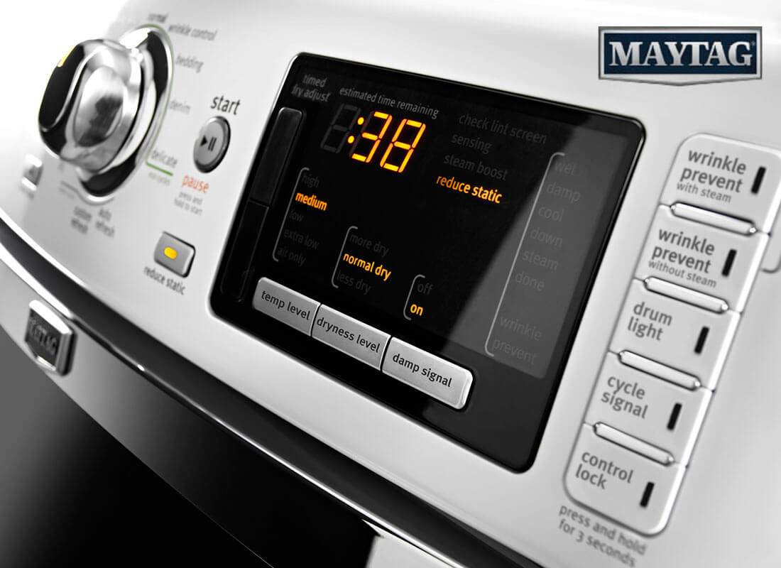 Maytag dryer displaying time left.